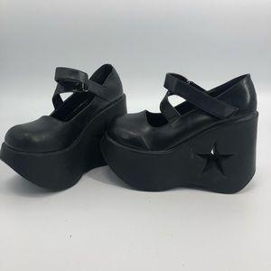 "Demonia black 5"" platform star cut out Mary Jane 9"